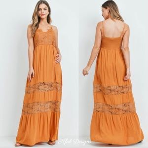 New! Lace Contrast Layered Boho Tiered Maxi Dress